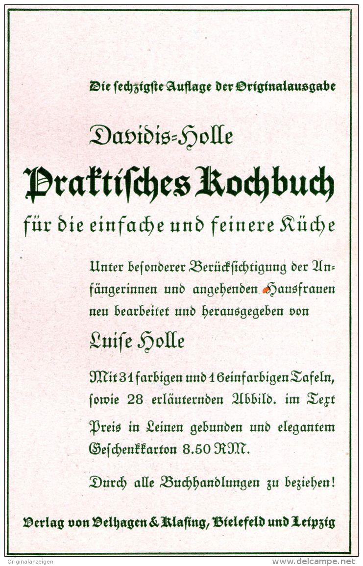 Original Werbung Anzeige 1936 Davidis Holle Kochbuch Velhagen Klasing Ca 90 X 140 Mm Bucher Kochbuch Kochen
