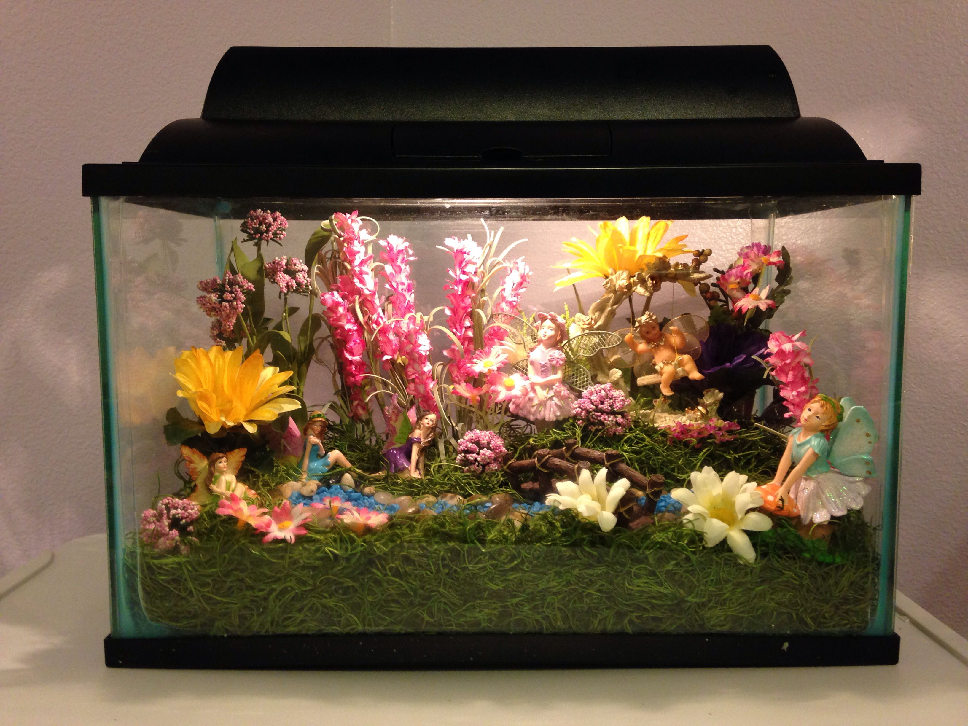 Fairy garden fish tank made as a night light for my for Fish tank garden