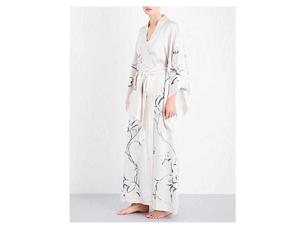 Floral-print silk-satin kimono robe Carine Gilson Cheap Manchester oAOBdVchG