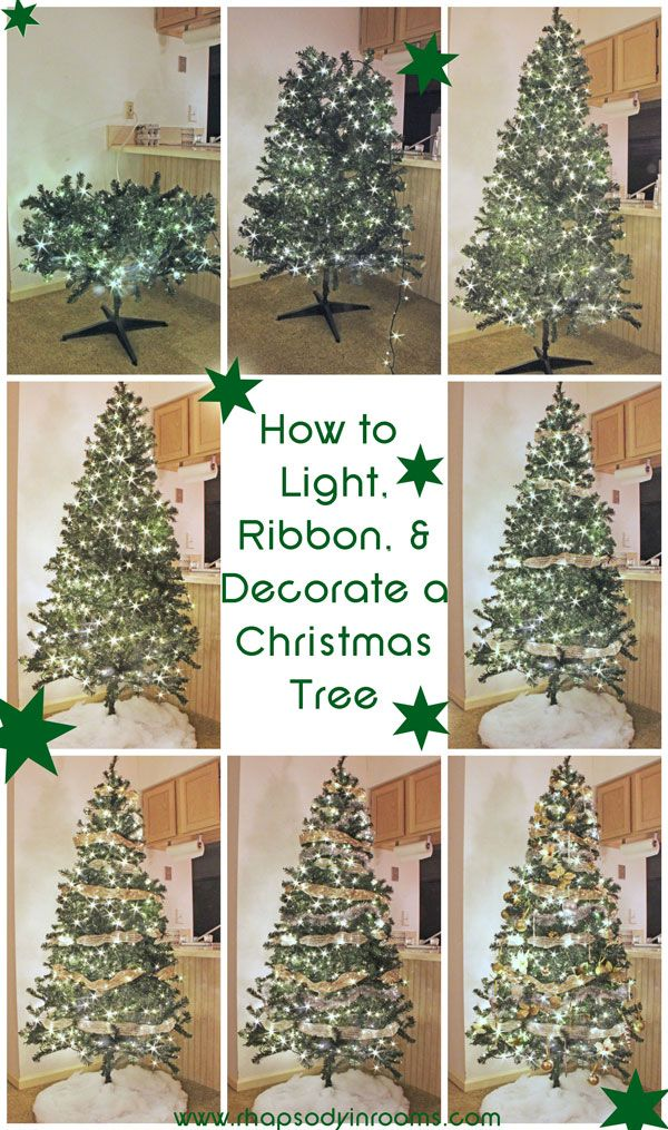 How To Light Ribbon And Decorate A Christmas Tree Ribbon On Christmas Tree Fake Christmas Trees Cheap Christmas Trees