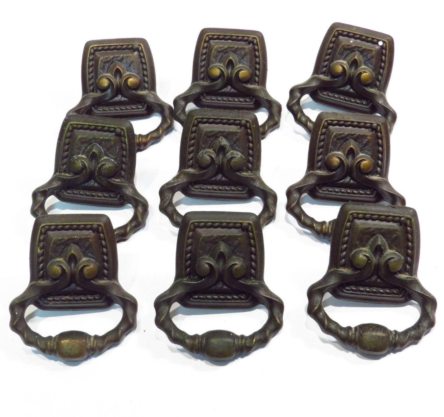 6 AMEROCK CARRIAGE HOUSE CABINET HANDLES PULLS BACKPLATES SCREWS ANTIQUE GOLD