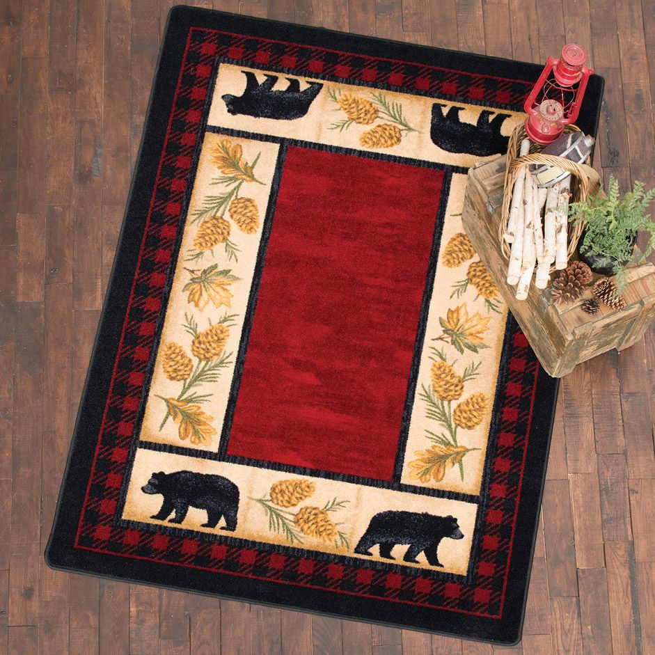 Rustic Lodge Panel Stripes Cabin Area Rug Gold Brown Red Gray Taupe 5 x7 8 x 10