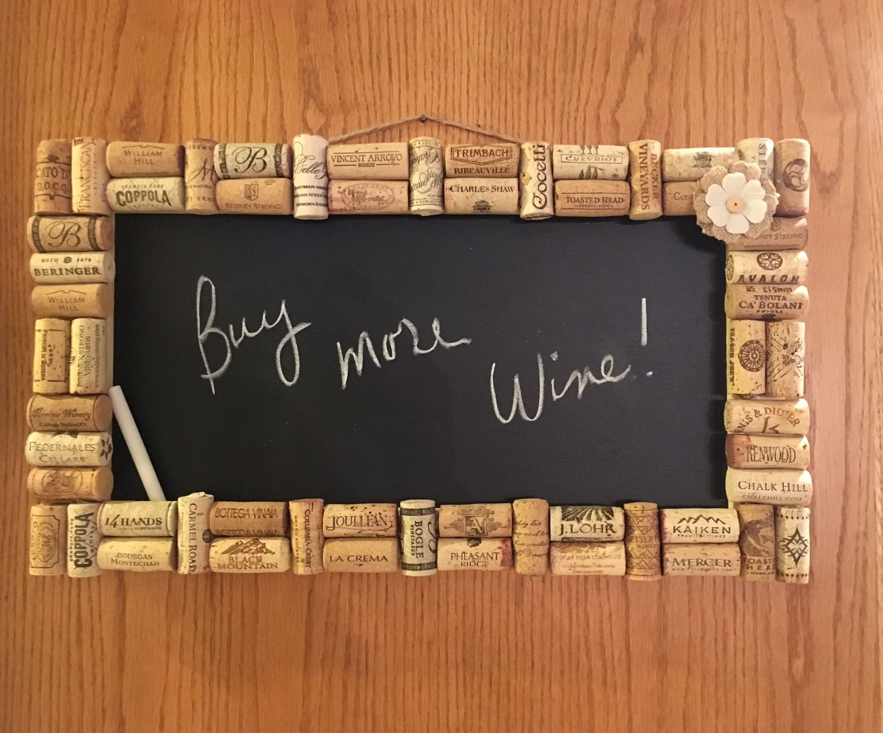 Wine cork chalkboard made by All Things