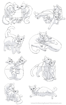 Cat Couples And Families Lines 8 Pack By Dancingfoxeslf Cat And Dog Drawing Cat Drawing Tutorial Warrior Cat Drawings