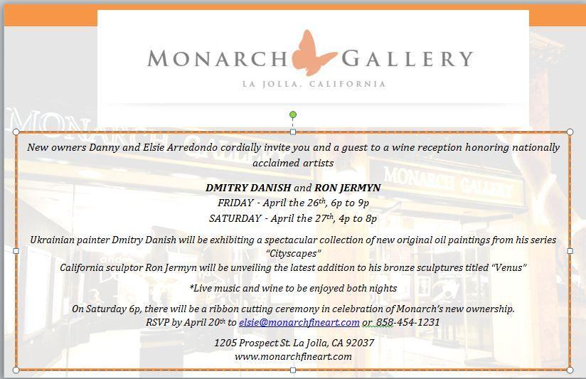 April 2013 invitation for show at Monarch Gallery, La Jolla, CA - invitation unveiling