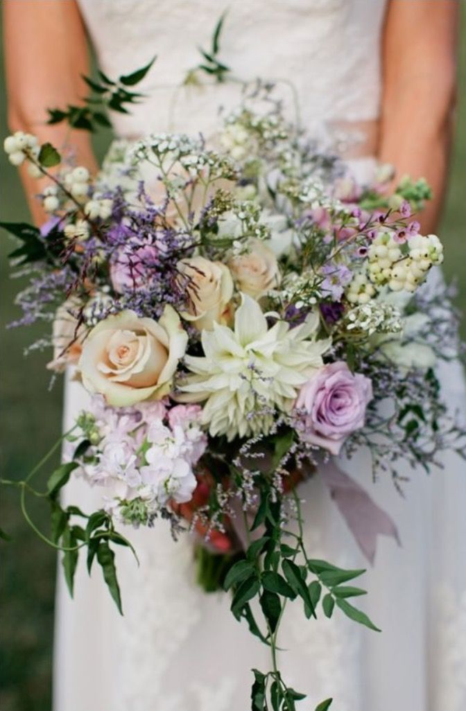 Large Semi Cascading Wild Bouquet Dahlia Roses Snow Berries Stocks Wax Flower Won T Be In Boho Wedding Bouquet Lavender Wedding Lavender Wedding Flowers