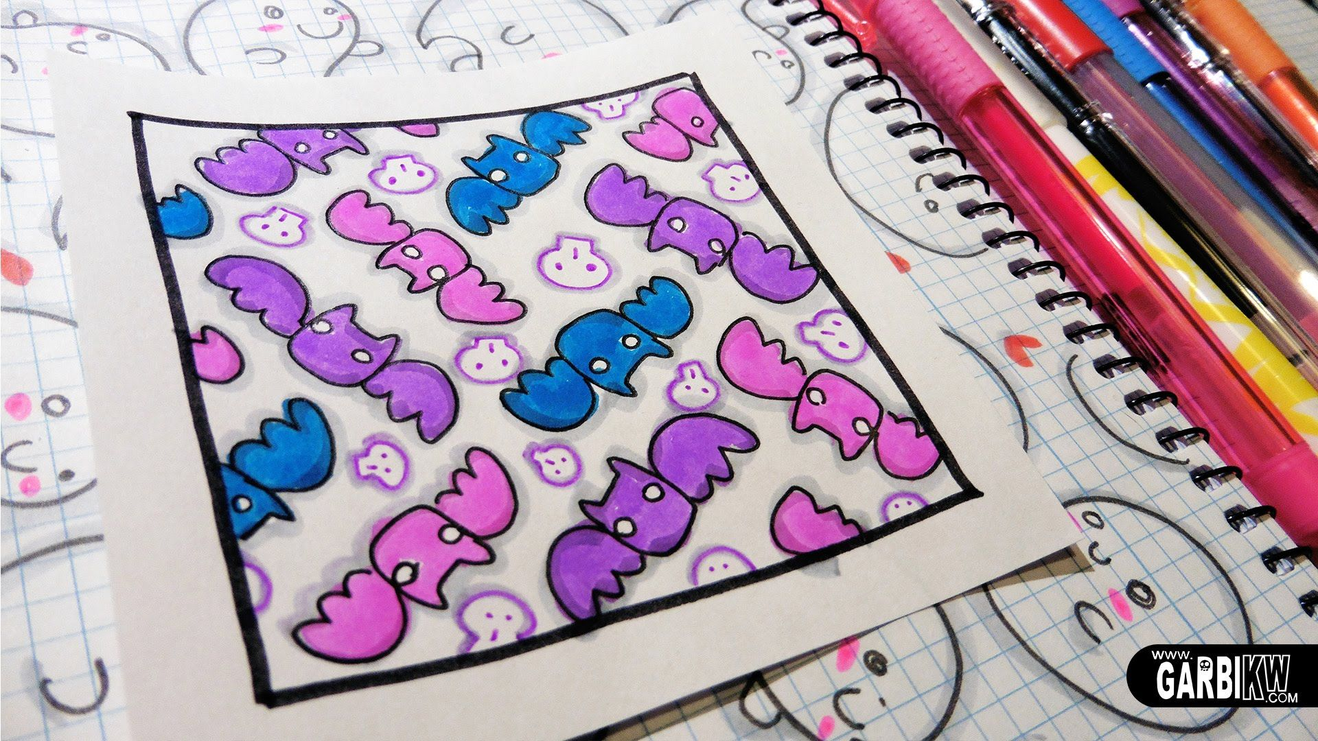 Cute bats how to draw patterns for your doodles by garbi for How to draw doodles
