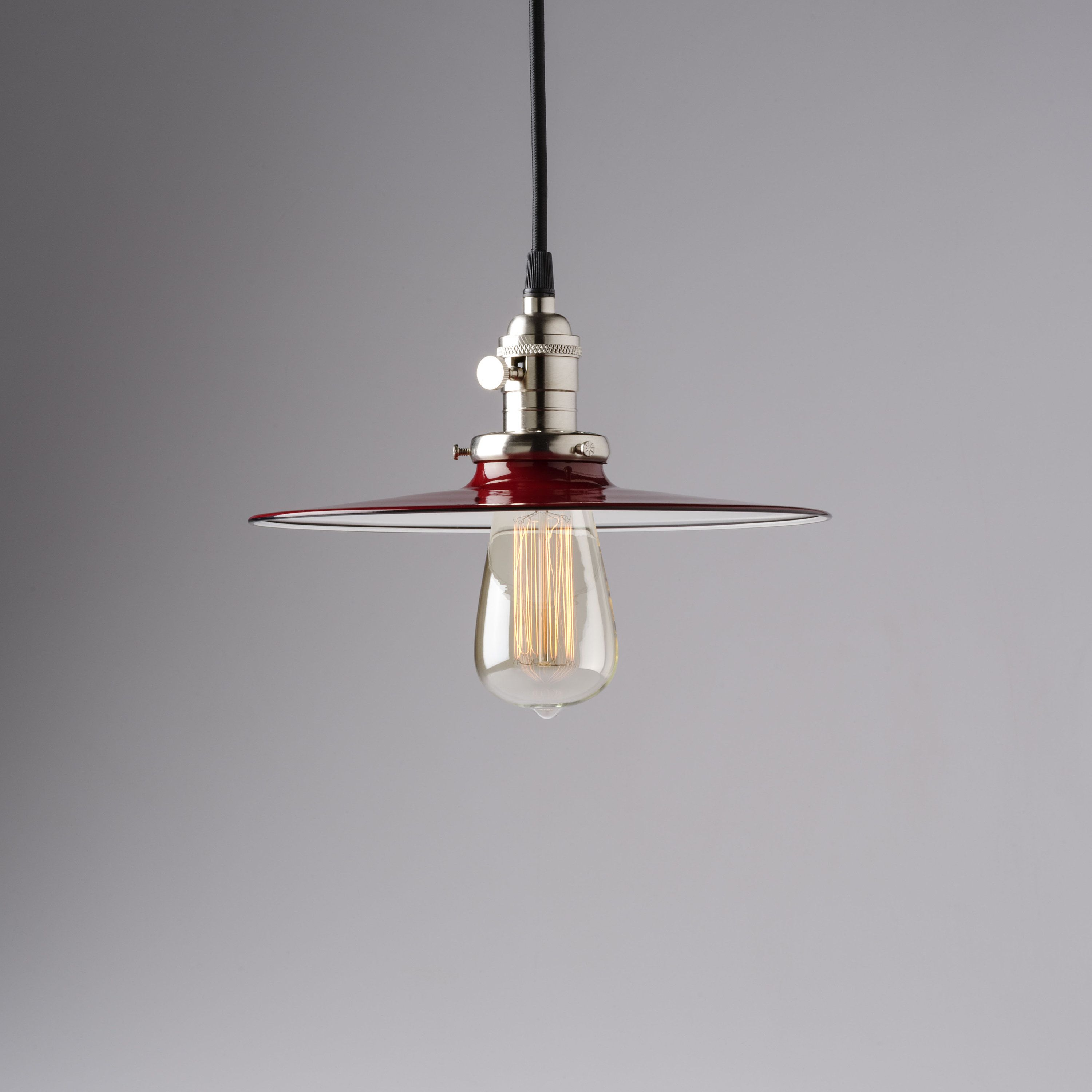 Industrial Pendant Light Fixture With Flat Red Metal Shade