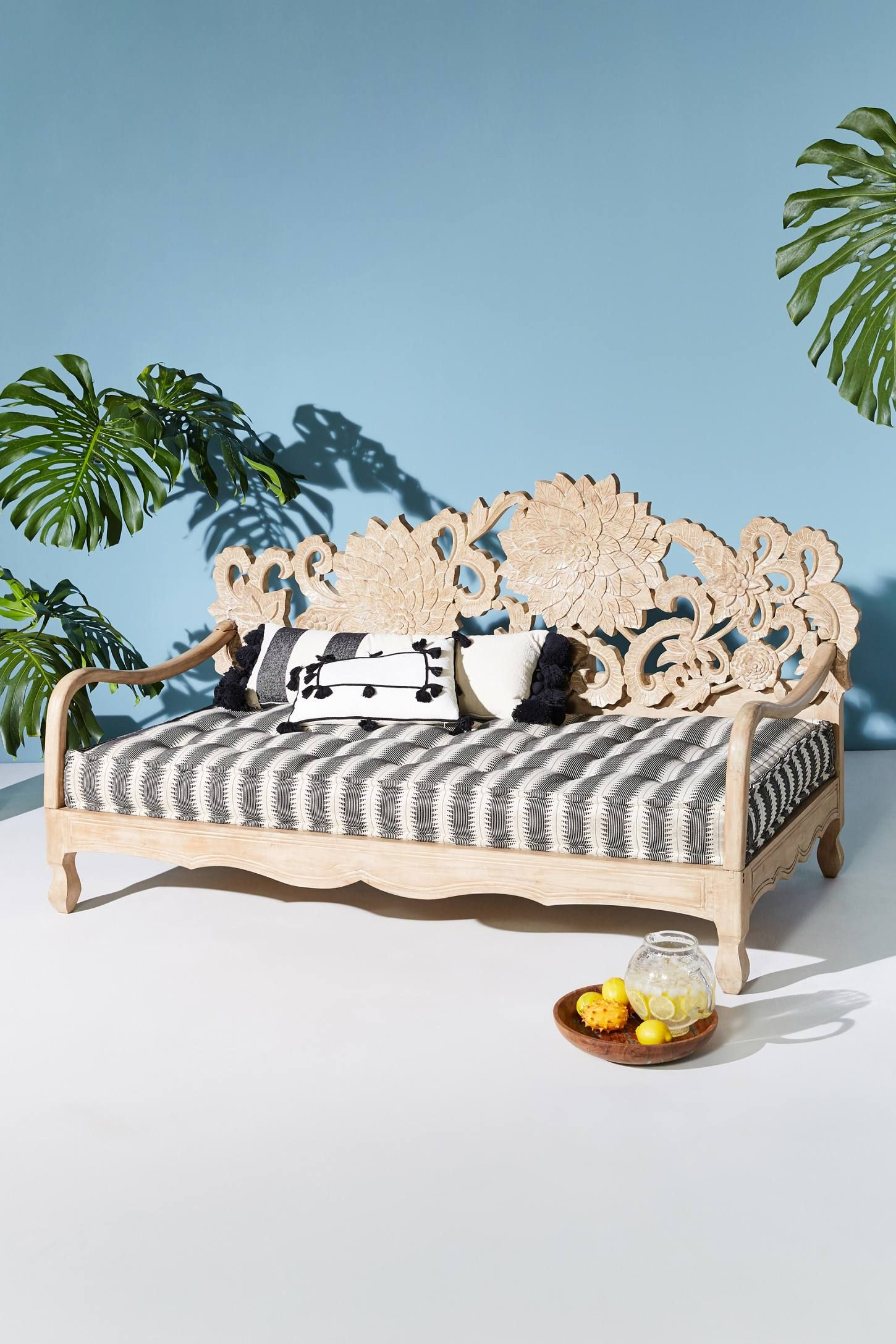 - Handcarved Lotus Indoor/Outdoor Daybed Anthropologie #boho