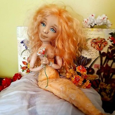 OOAK Folk art Mermaid Doll Sculpted textiles