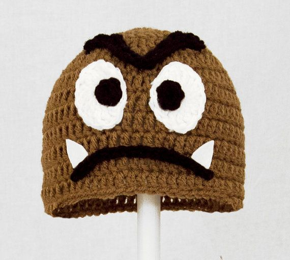 38628a8d1d7 Goomba Hat from Super Mario Bros Brown Crochet Beanie by GeekinOut ...