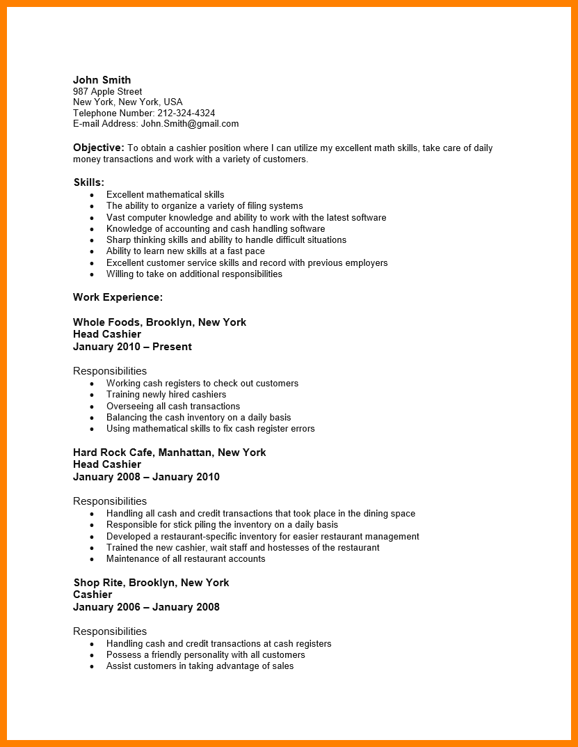 Grocery Store Resume Sample Business Proposal Format Character