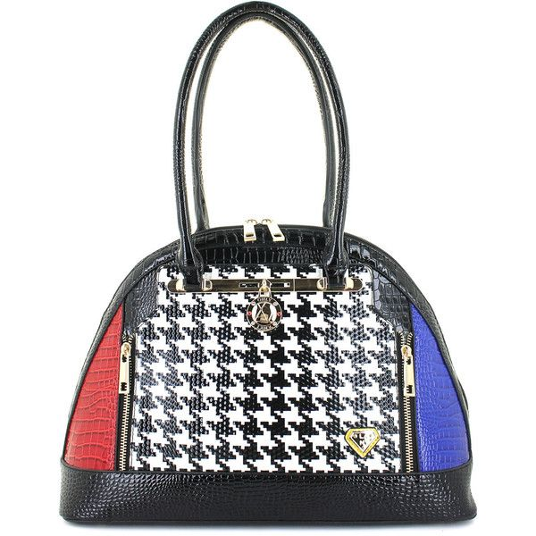 Lany Houndstooth Luxe Bowler Bag 46 Liked On Polyvore Featuring Bags Handbags