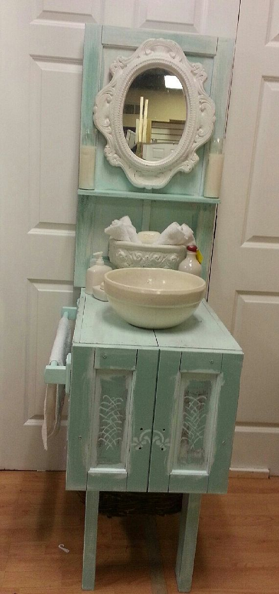 SALE Shabby Chic, Cottage Chic, One Of A Kind Bathroom Vanity Or Gardening  Bench Part 81