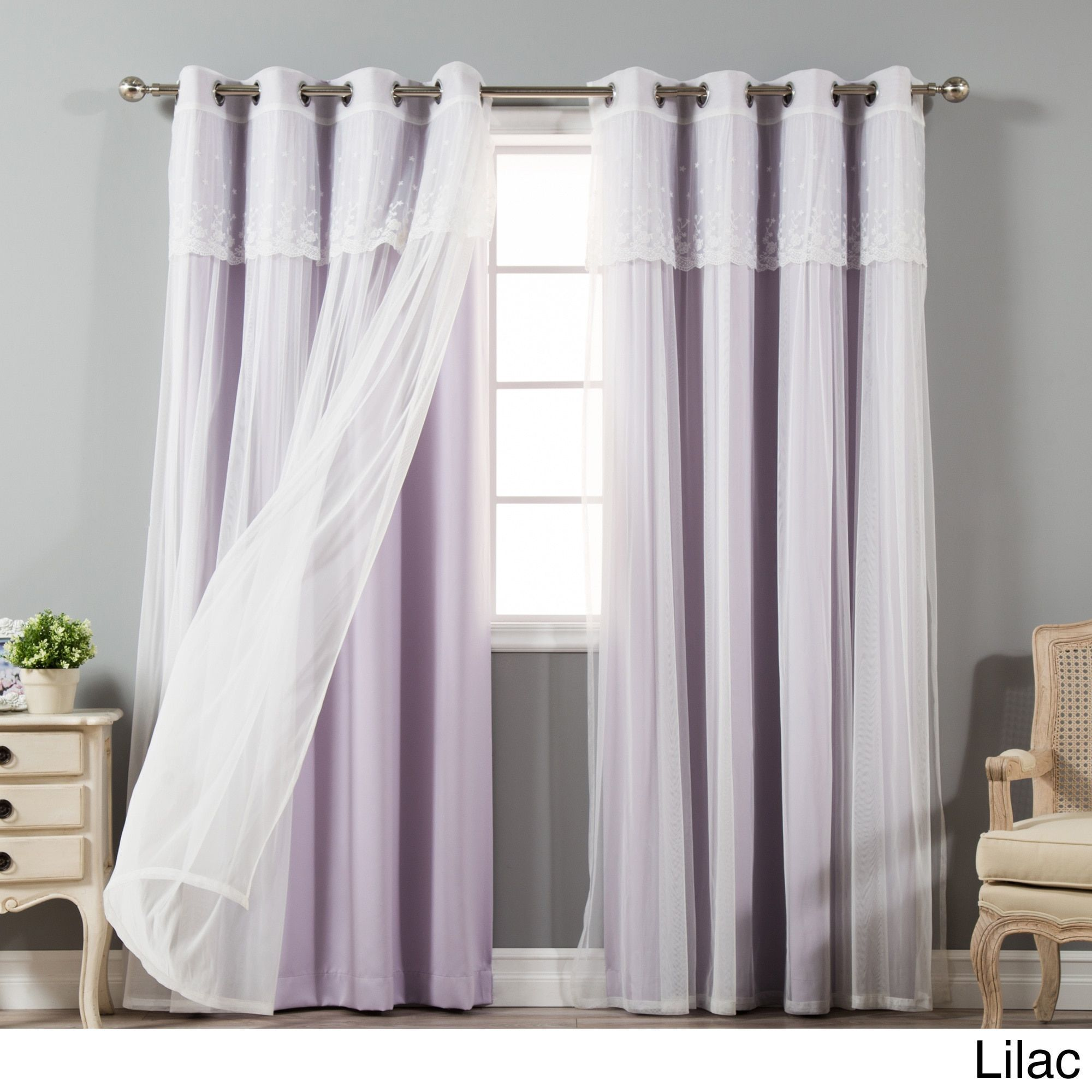 Vorhang Lila Aurora Home Tulle Sheer With Attached Valance And Amp Solid