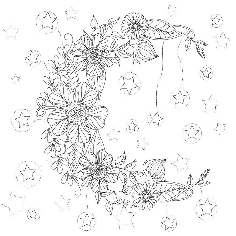 Floral Moon Coloring Page Design Ms Coloriage Astre