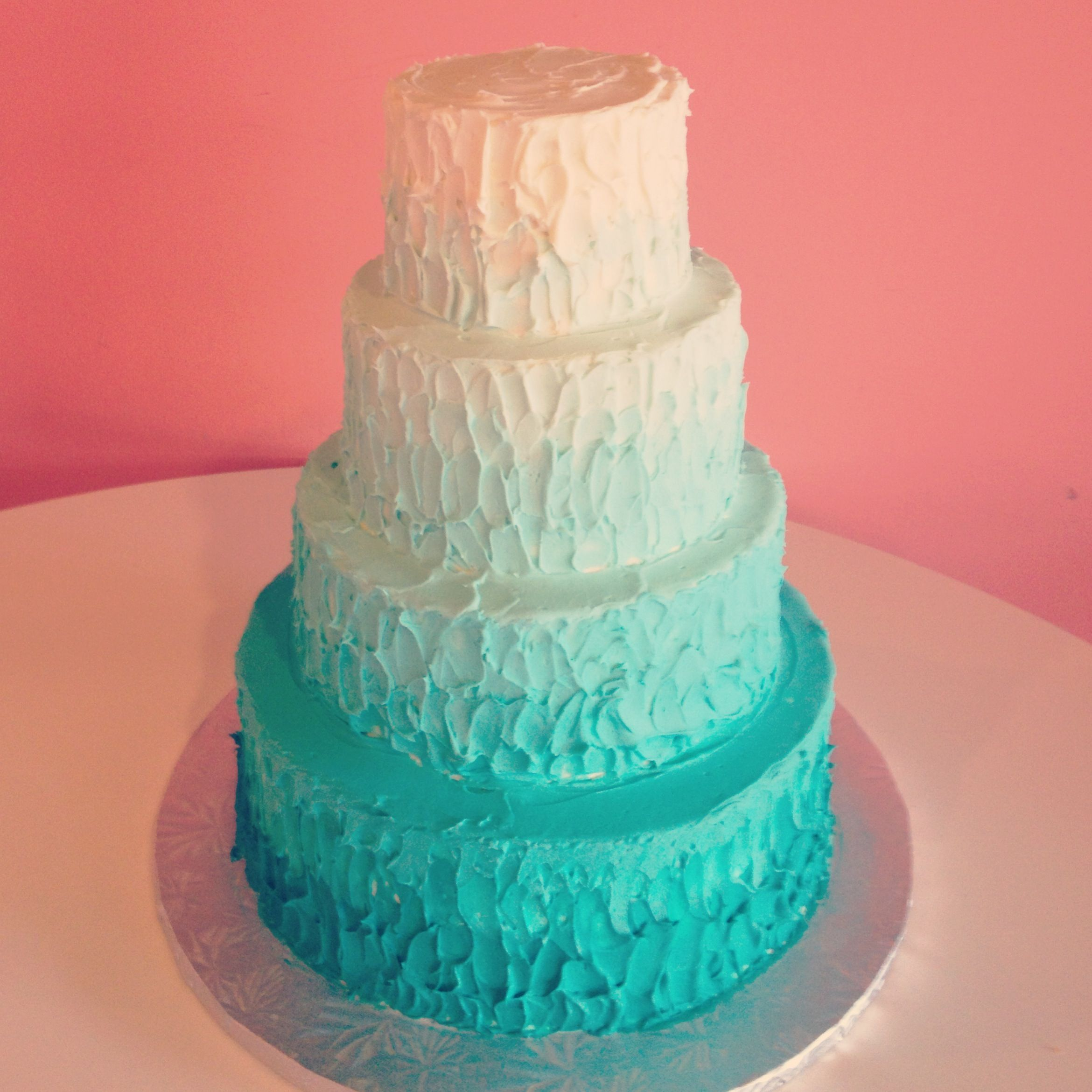 Aquamarine Ombre Wedding Cakes