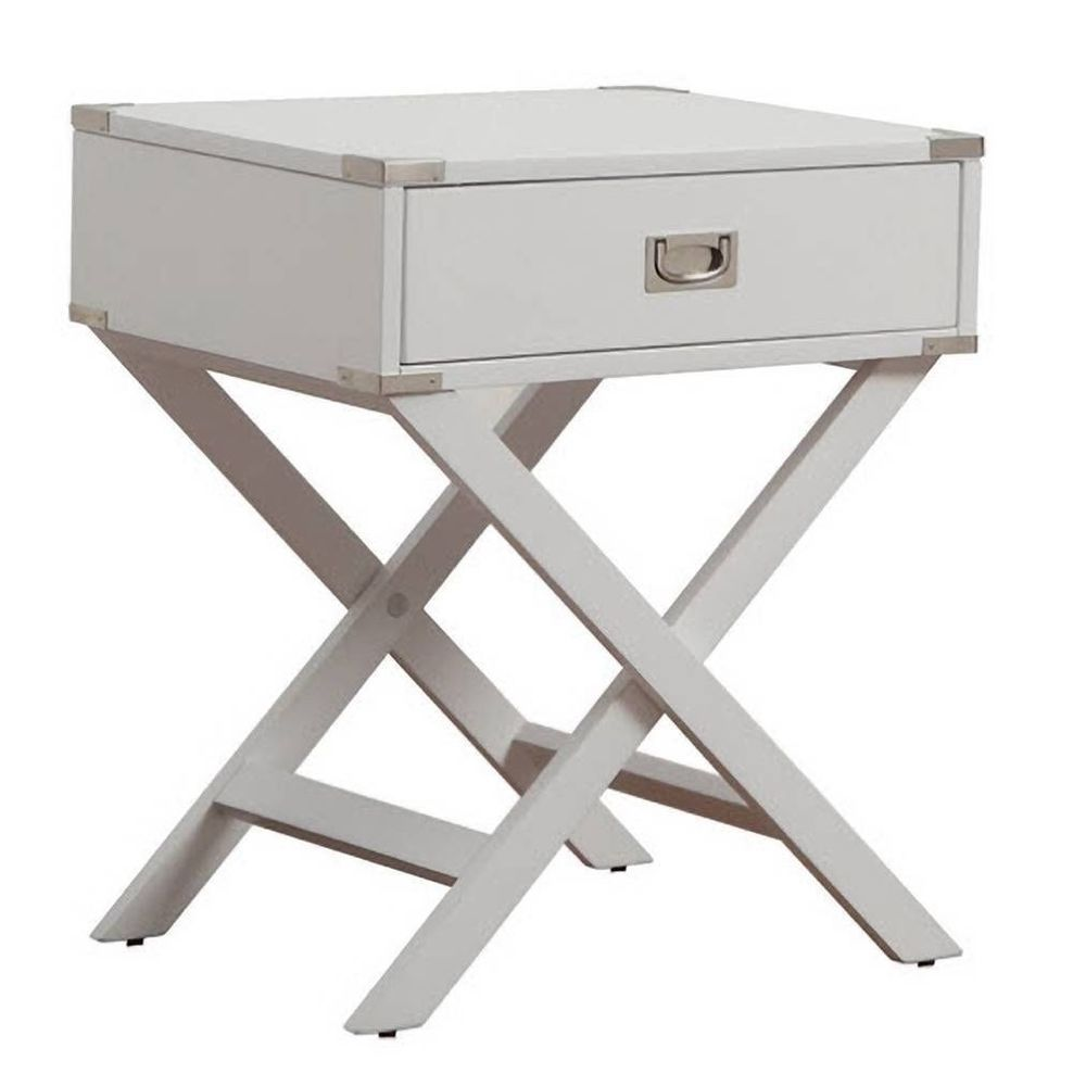 X Base White Finish Nightstand Accent End Table w/ Bright Nickel Hardware  Modern #Modern