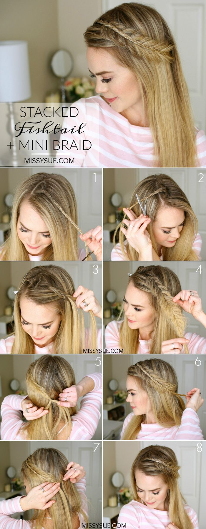 Elegant and stunning stacked fishtail and mini braid for your