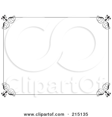 Royalty-Free (RF) Clipart Illustration of a Black And White Ornate - certificate border word