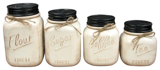 Ceramic Canisters Set White Rustic Kitchen Addison Traditional