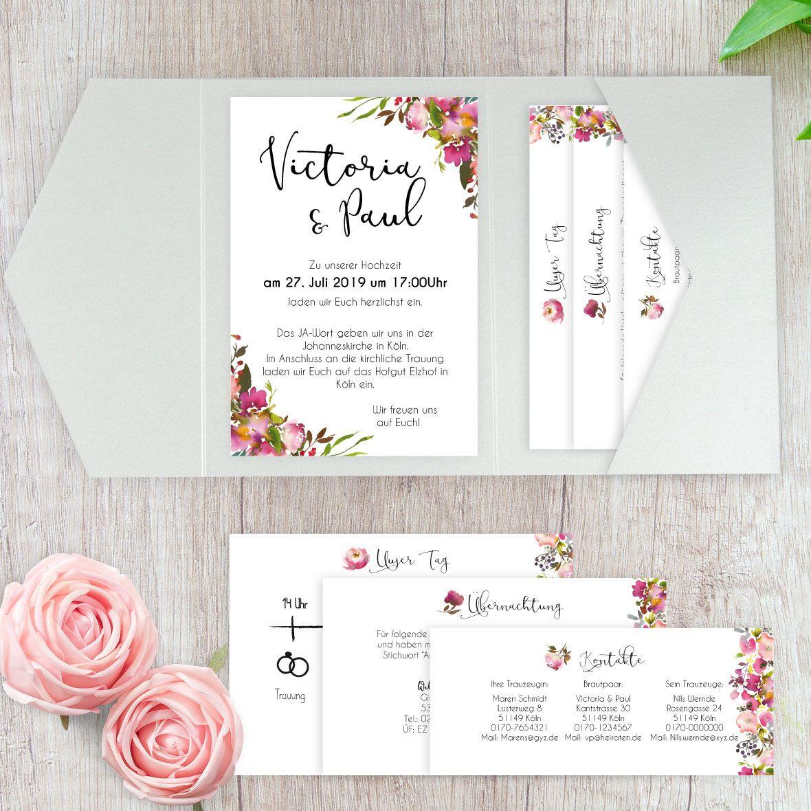 """Hochzeitseinladung Pocketfold B6 seitlich """"Pink Bunch"""""""