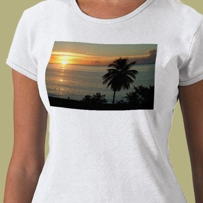 Sunset over the ocean t-shirt framed with palm tree.