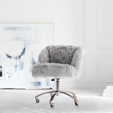 Magnificent Gray Fuzzy Desk Chair In My Kit 2018 2019 Bedroom Machost Co Dining Chair Design Ideas Machostcouk