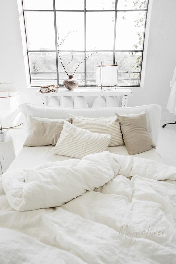 Ropa de cama SET en color blanco o marfil. Juego de funda de | Etsy