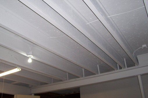 diy unfinished basement painted ceiling painted ibeam