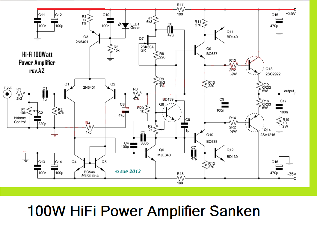 circuitdiagram amplifiercircuit amplifiercircuitsaudio hifiaudio audio amplifier circuit diagram 100w hifi power amplifier circuit with sanken in [ 1058 x 758 Pixel ]