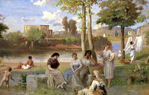 Washing on the Tiber by Heinrich Dreber