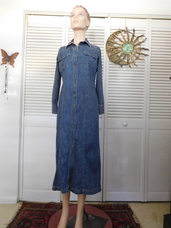 Denim Jean Dress Size 6 Hippie Boho Clothes Blue Jean Dress Long Jean Dress Cowgirl Glam Jean Dress Western Wear by LandofBridget on Etsy