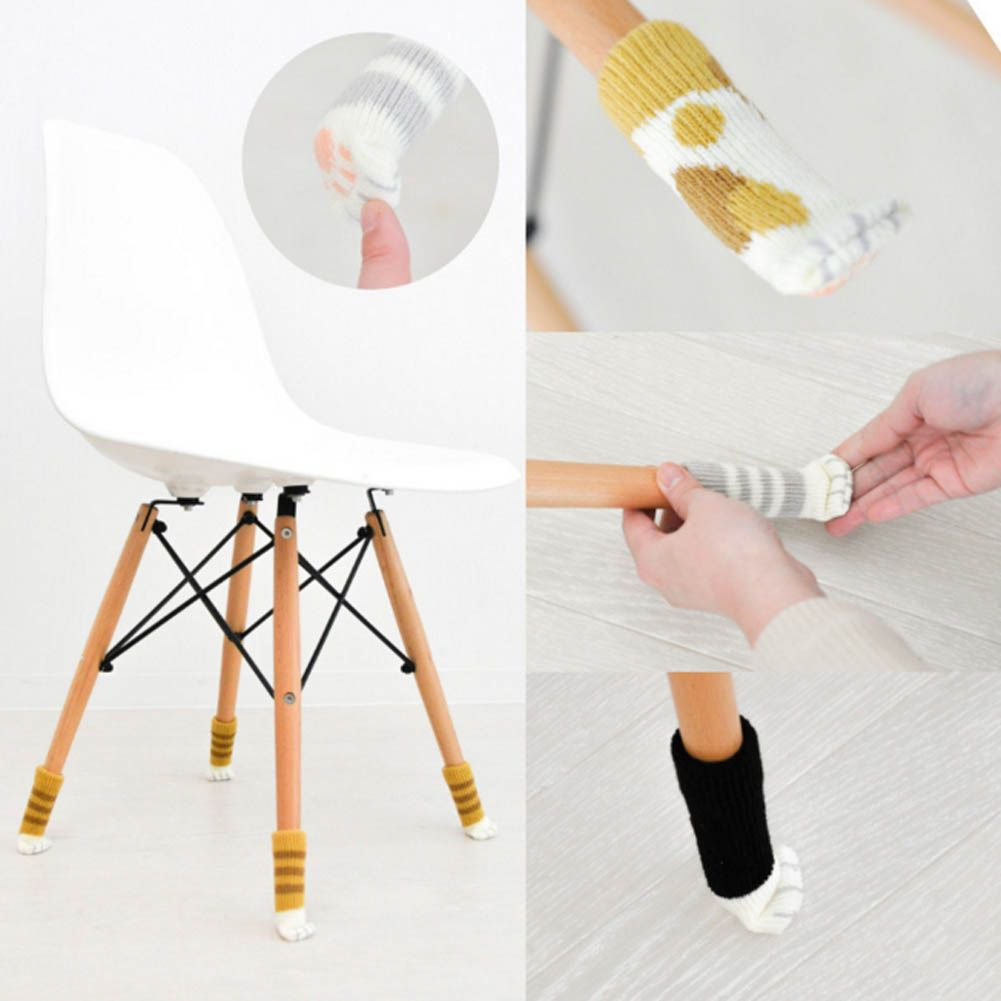 Home Flower Floor Protector Leg Sleeve 4 Pcs/set Knit Table Chair Foot  Cover Socks