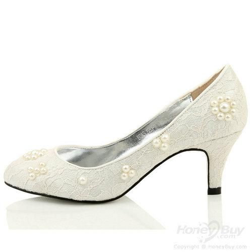 Lace Flowers Tip Binding White Wedding Low Heels