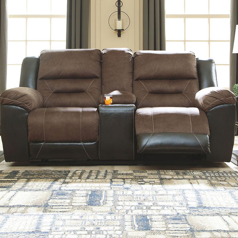 Tremendous Signature Design By Ashley Earhart Reclining Loveseat With Bralicious Painted Fabric Chair Ideas Braliciousco