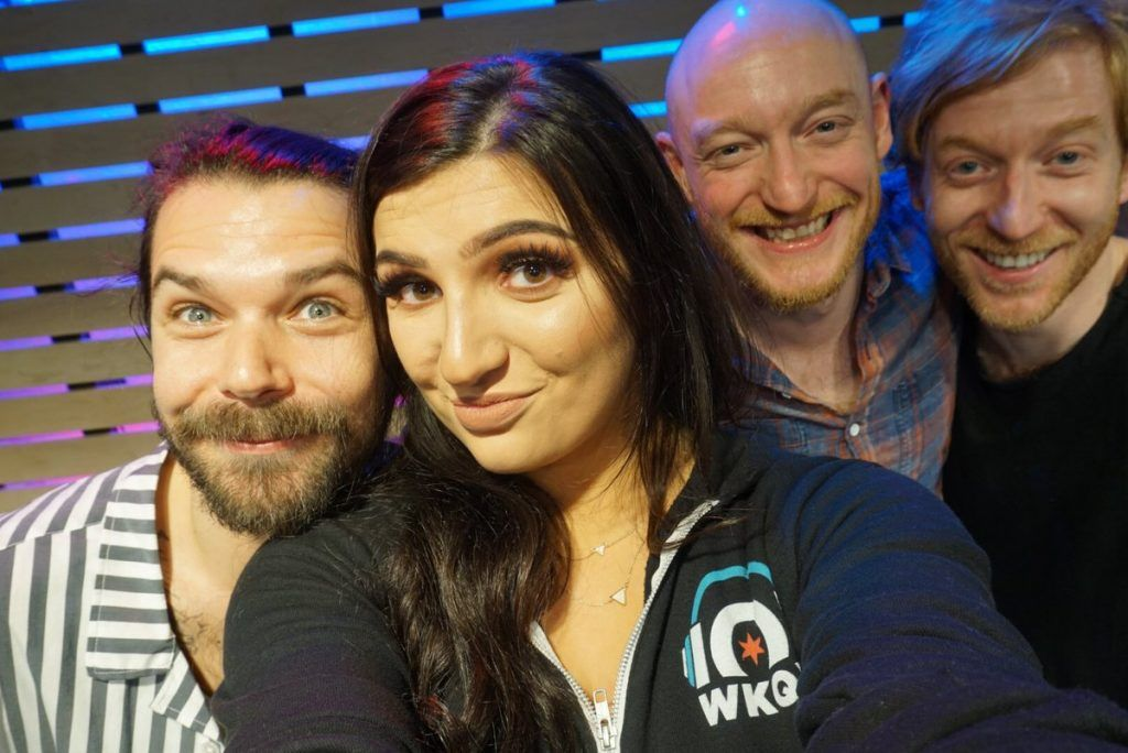 Here's a great office selfie taken by Rachelle French, host of the Sound Lounge on Chicago radio station 101WKQX, when she had world-famous Scottish rockers Biffy Clyro on her show recently. 101WKQX has been broadcasting to the Chicago metropolitan area since 1984.