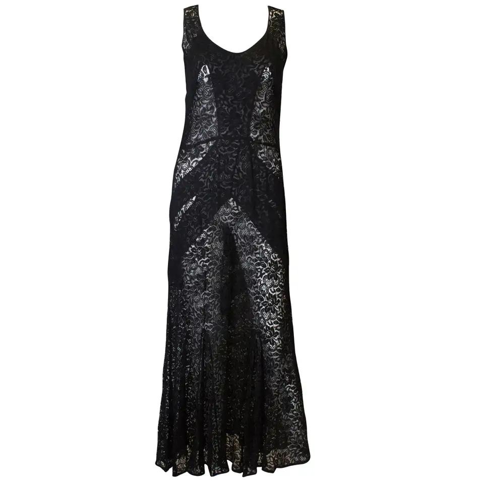 Vintage 1930s Black Lace Dress Evening Dresses Silk Cocktail Dress Lace Dress [ 960 x 960 Pixel ]