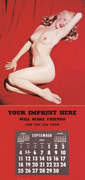 1955 Calendar September Marilyn Monroe Marilynmonroe Pinup