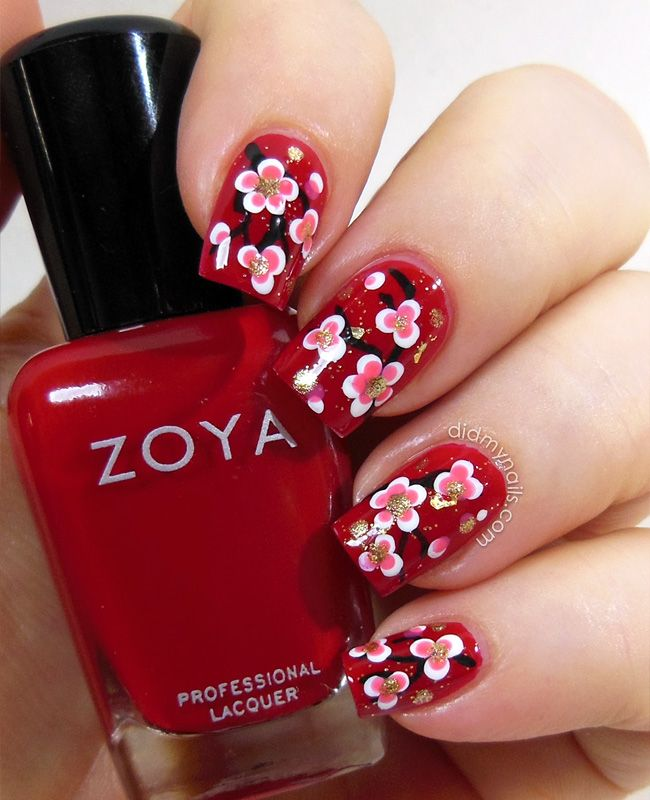 Elizabeth from didmynails.com , Chinese New Year Nail Art. How amazing is  this manicure?