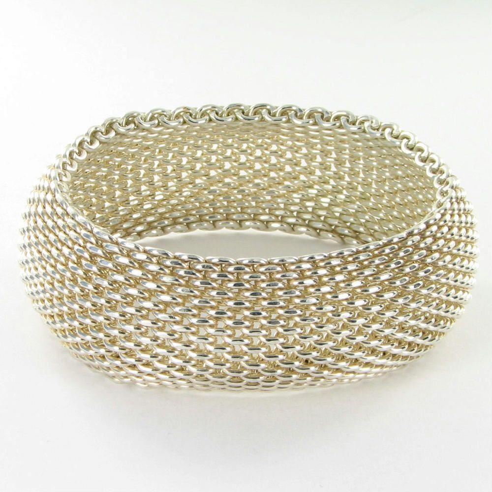 """50955b1b7 Somerset Bracelet 1"""" Wide Sterling Silver Mesh Excellent Condition $549.99 # TiffanyCo #Bangle"""