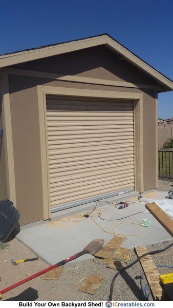 Pictures Of Sheds With Garage Doors Garage Door Shed Photos Backyard Sheds Backyard Shed Backyard Lighting Diy