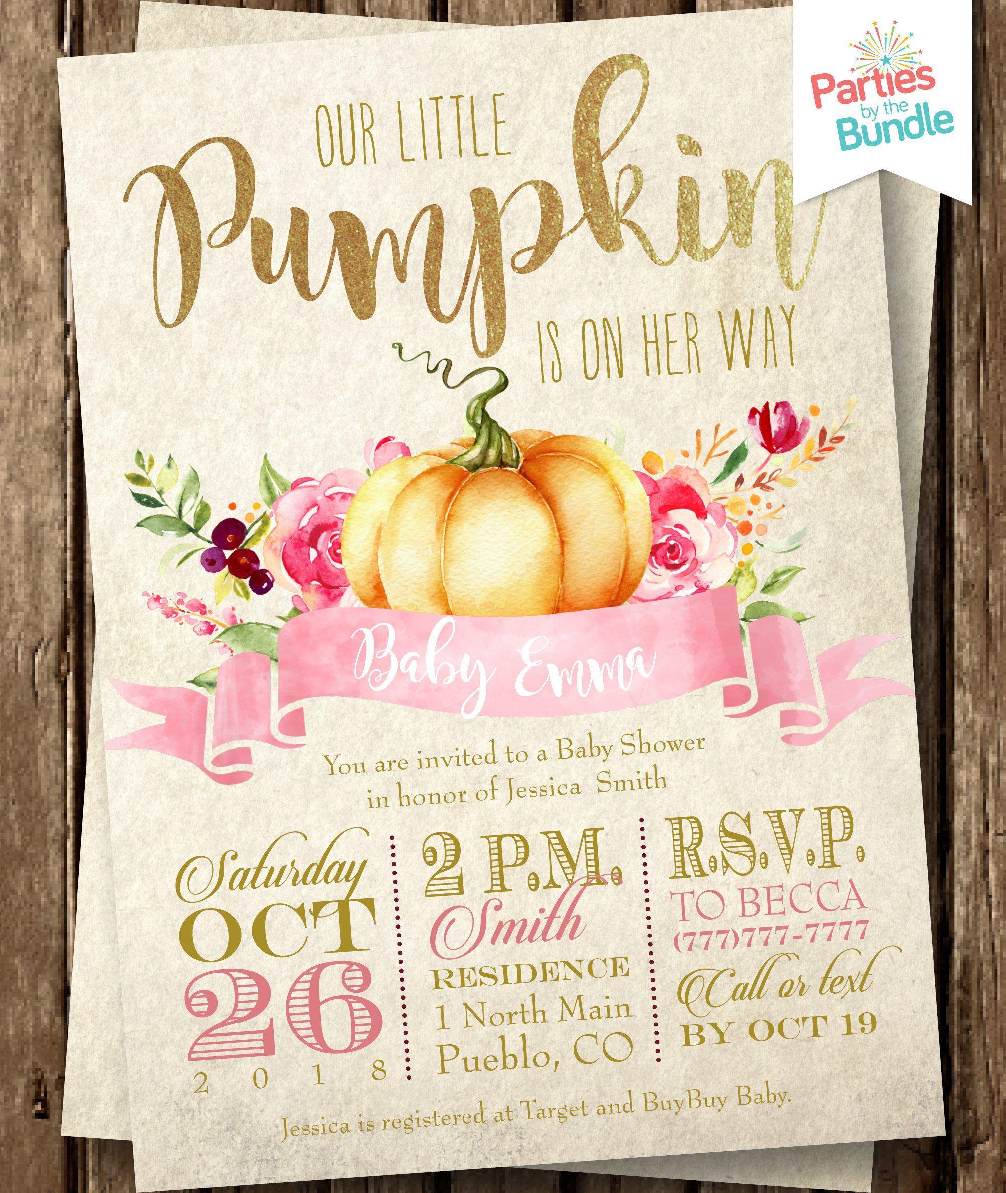 Little Pumpkin Baby Shower Invitation Little Pumpkin Shower Invite