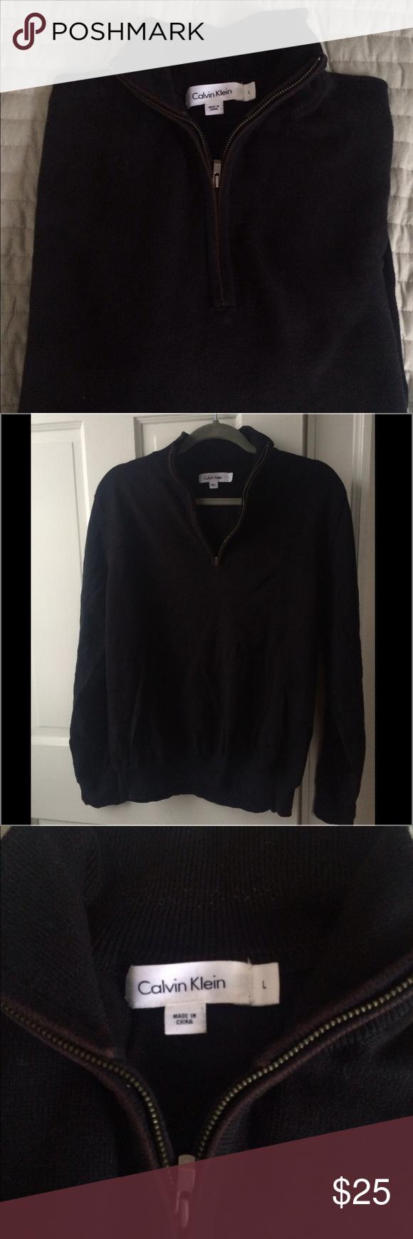 Calvin Klein black quarter zip sweater Calvin Klein black quarter zip sweater.  EUC.   Comes from a pet-free, smoke-free home. Calvin Klein Sweaters Zip Up