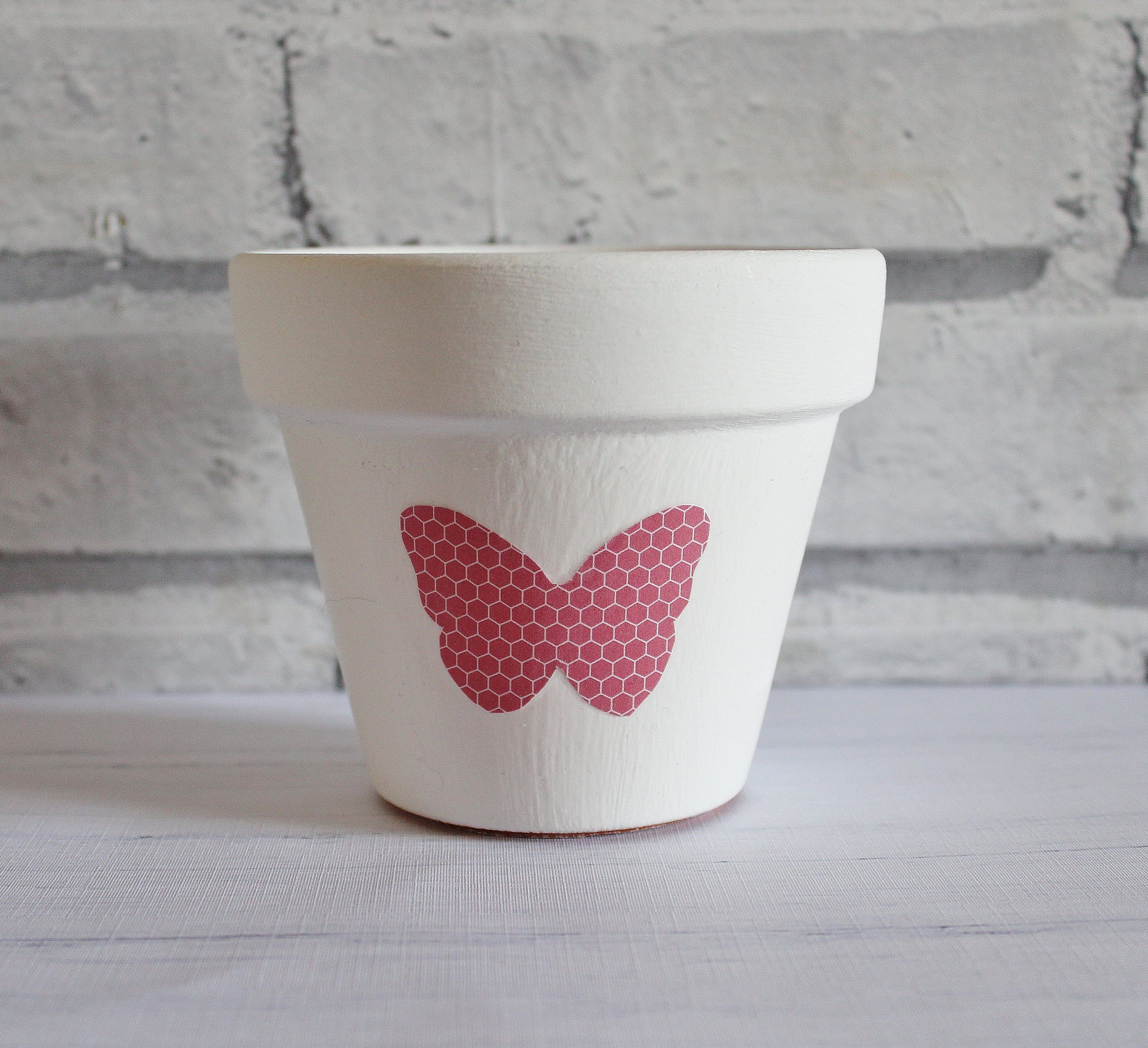 White and pink plant pot, pink butterfly, pink decor