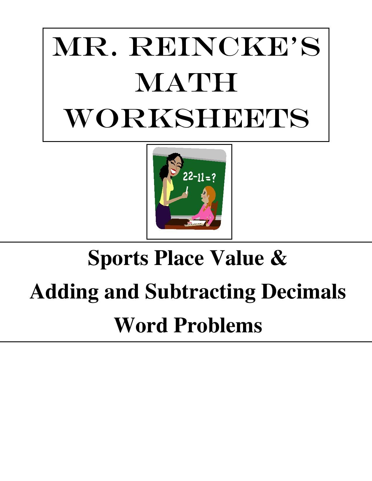 The Document Contains 3 Place Value Worksheets Word Standard Expanded There Are Four Worksheets On Adding And Sub Word Problems Decimal Word Problems Math