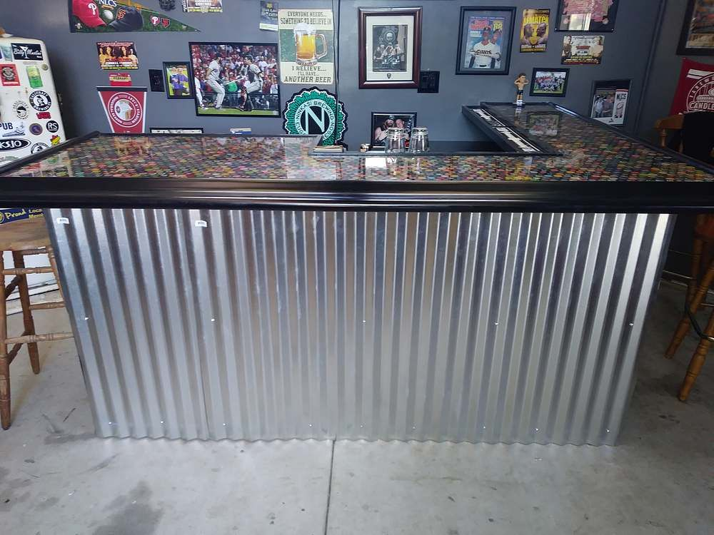 Epoxy bottle top bar | Clear epoxy, Bar top tables, Clear ...