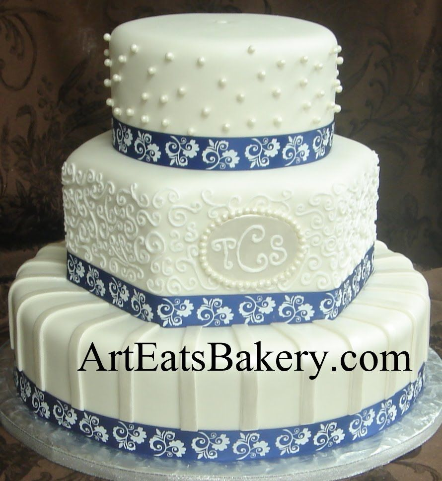 pearl ribbon for wedding cake three tier white fondant and hexagon wedding cake 18167