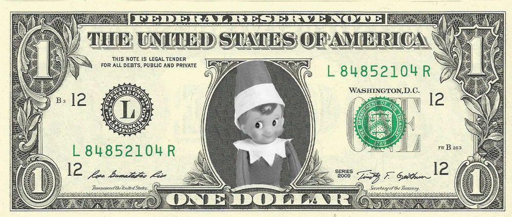 Elf On The Shelf Christmas Dollar Bill Real Money Stocking