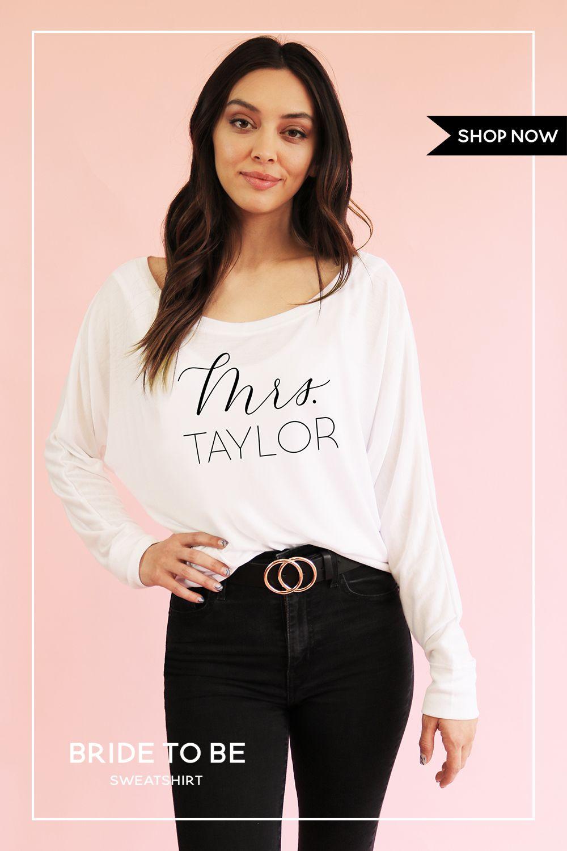 Custom Shirt Long Sleeve Bride Sweatshirt Long Sleeve Shirts Personalized Bride [ 1500 x 1000 Pixel ]